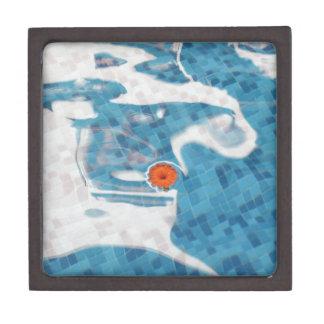 Flor anaranjada flotante de la primavera en agua a caja de recuerdo de calidad
