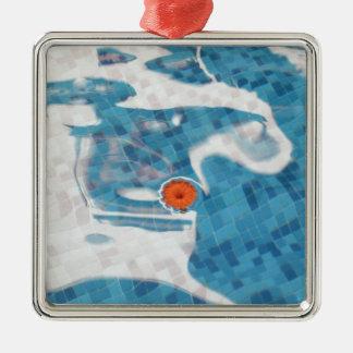 Flor anaranjada flotante de la primavera en agua a ornamente de reyes