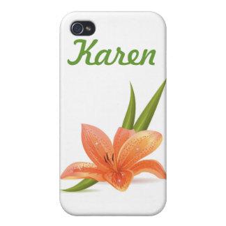 Flor anaranjada iPhone 4/4S carcasa