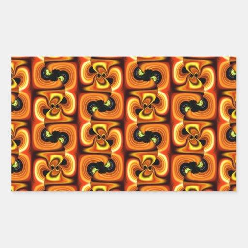 Flor anaranjada pegatina rectangular