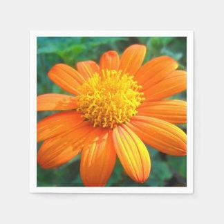 Flor anaranjada servilletas de papel