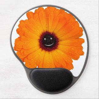 Flor anaranjada sonriente alfombrilla de raton con gel