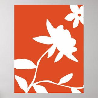 Flor anaranjada y blanca posters