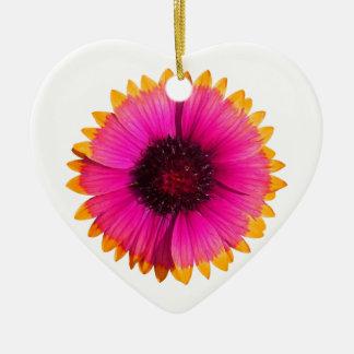 Flor anaranjada y rosada adorno navideño de cerámica en forma de corazón
