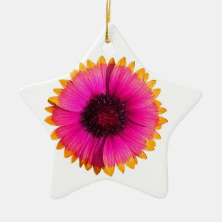 Flor anaranjada y rosada adorno navideño de cerámica en forma de estrella