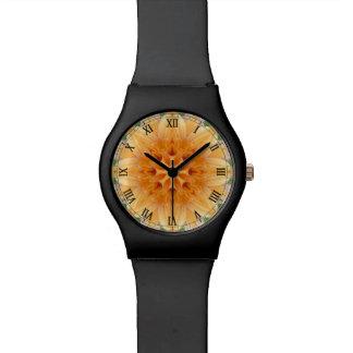 Flor anaranjada y verde del caleidoscopio reloj de mano