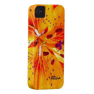 Flor anaranjado hermoso de la flor del lirio iPhone 4 cárcasa