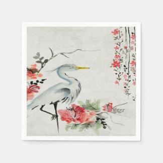 flor asiática de la grúa de las servilletas de servilletas desechables