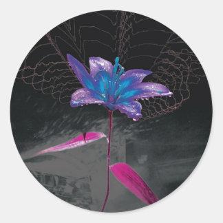 Flor atómica etiquetas redondas