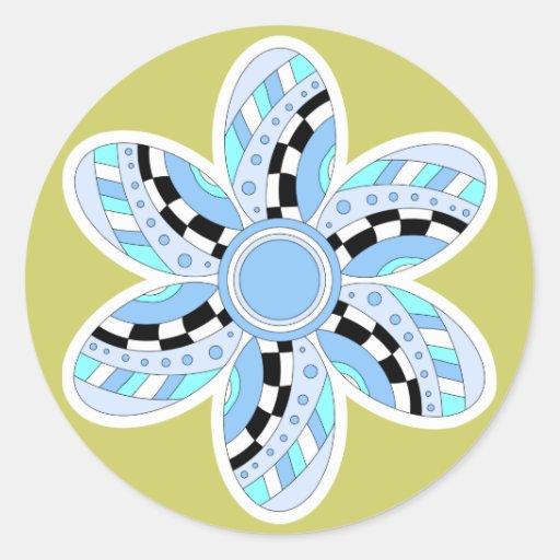 Flor azul, blanca y negra hermosa pegatina redonda