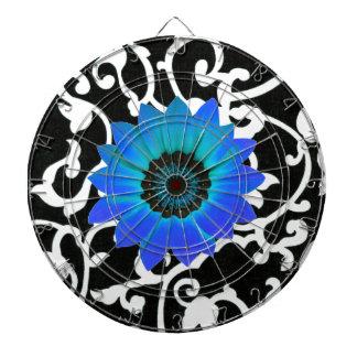 Flor azul brillante femenina remolinos negros y de tablero de dardos