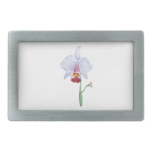Flor azul clara y rosada hebillas cinturon rectangulares