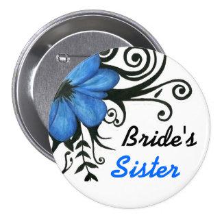Flor azul con las hojas y los remolinos - botón de pin redondo de 3 pulgadas