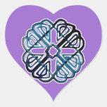 Flor azul de Knotwork Pegatina En Forma De Corazón