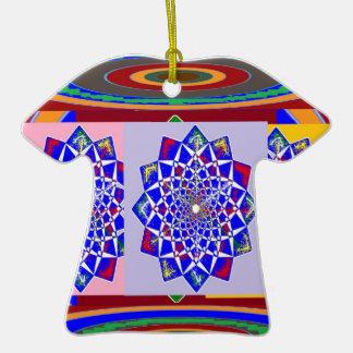Flor AZUL de la rueda de Chakra del DIAMANTE real Adorno De Cerámica En Forma De Camiseta