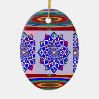 Flor AZUL de la rueda de Chakra del DIAMANTE real Adorno Ovalado De Cerámica