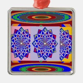 Flor AZUL de la rueda de Chakra del DIAMANTE real Adorno Cuadrado Plateado