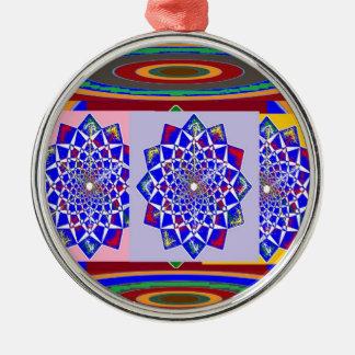 Flor AZUL de la rueda de Chakra del DIAMANTE real Adorno Redondo Plateado