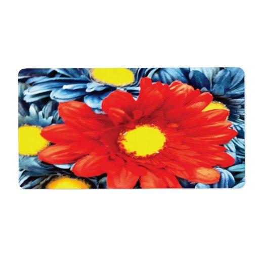 Flor azul de las margaritas anaranjadas de la marg etiqueta de envío