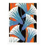 Flor azul Deco Postal