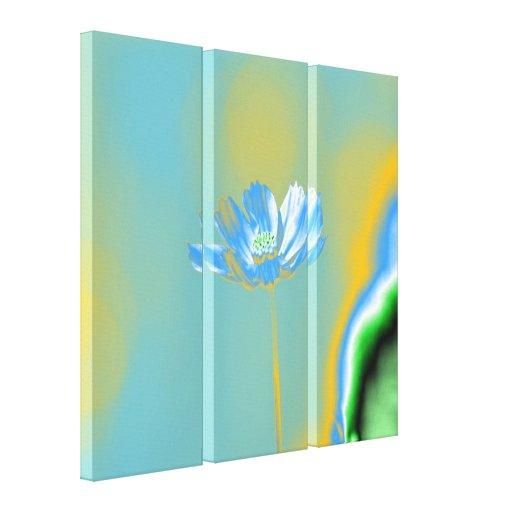 Flor azul del cosmos del arte pop impresion en lona