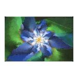 Flor azul del fractal impresiones de lienzo