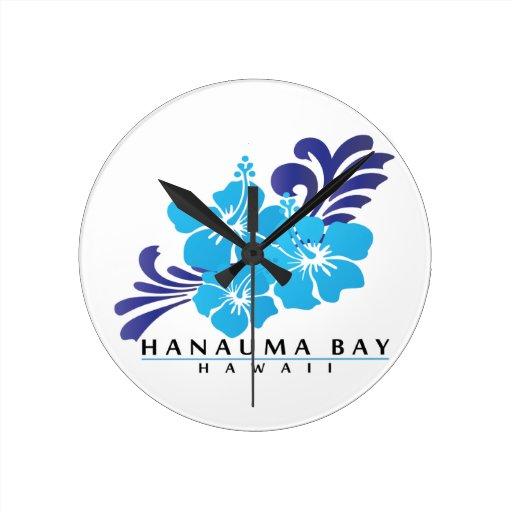 Flor azul del hibisco de Hawaii Reloj De Pared