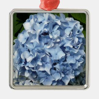 Flor azul del Hydrangea Adorno Navideño Cuadrado De Metal