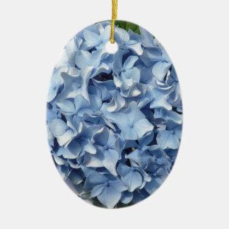 Flor azul del Hydrangea Adorno Navideño Ovalado De Cerámica