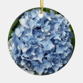 Flor azul del Hydrangea Adorno Navideño Redondo De Cerámica