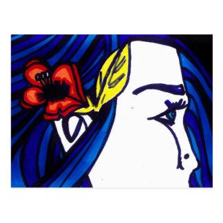 Flor azul del pelo postales
