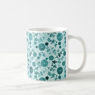 Flor azul del trullo mini taza básica blanca