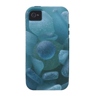 Flor azul del vidrio del mar iPhone 4 carcasas