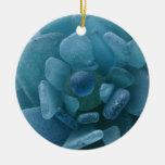 Flor azul del vidrio del mar ornamentos de reyes