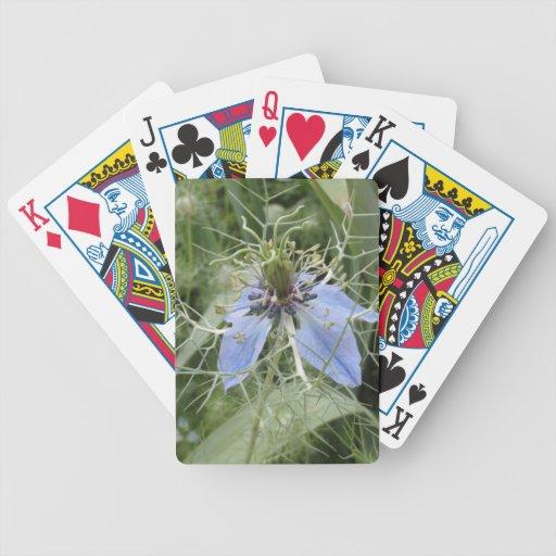 Flor azul inusual cartas de juego