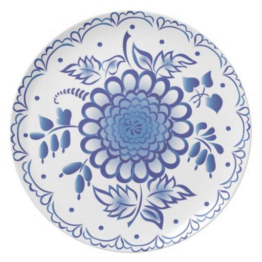 Flor azul marino platos