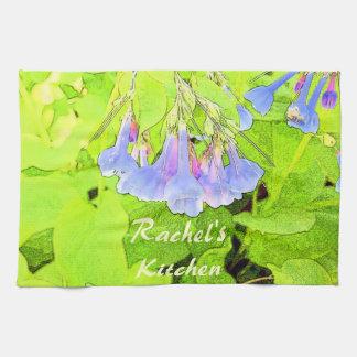 Flor azul personalizada de Virginia Belces Toallas De Mano