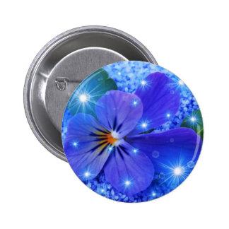 flor azul pin redondo de 2 pulgadas