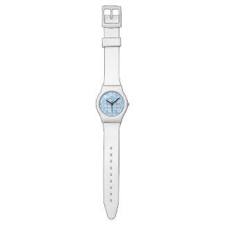 flor azul reloj de mano