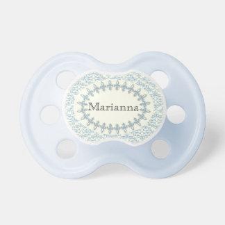 Flor azul suave del nombre del bebé del damasco chupetes de bebé