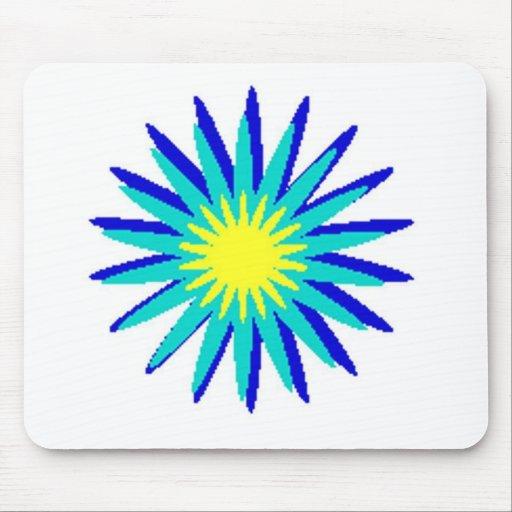 Flor azul y amarilla alfombrilla de raton