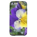 flor azul y amarilla bonita del pensamiento funda de iPhone 6 tough