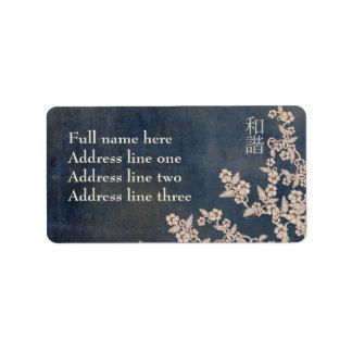 """Flor beige """"unísono """" etiquetas de dirección"""