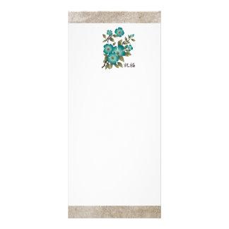 """Flor """"bendición """" de la turquesa tarjetas publicitarias a todo color"""