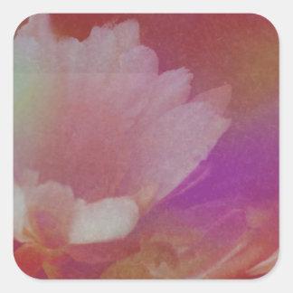 Flor blanca con texturas rosadas pegatina cuadrada