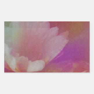 Flor blanca con texturas rosadas pegatina rectangular