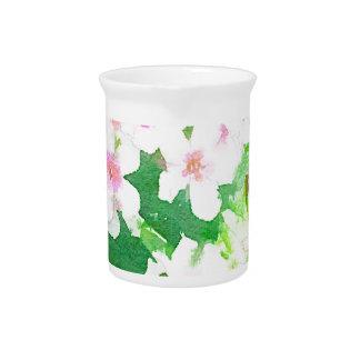 Flor blanca de la acuarela floral jarra para bebida