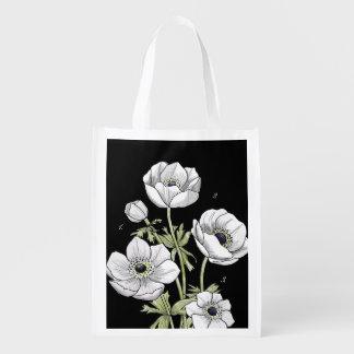 Flor blanca de la anémona botánica del | bolsas para la compra