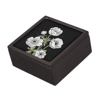 Flor blanca de la anémona botánica del | caja de recuerdo de calidad