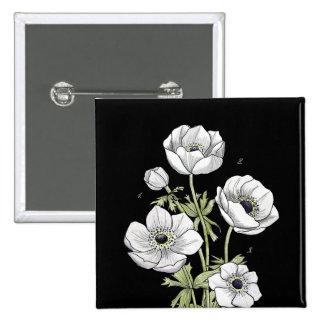 Flor blanca de la anémona botánica del | pin cuadrado